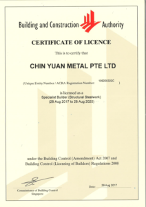 BCA Licensed Builder (Structural Steelworks)